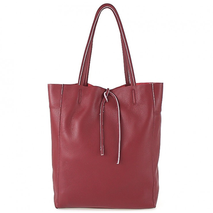 Kožená shopper kabelka 396 tmavočervená
