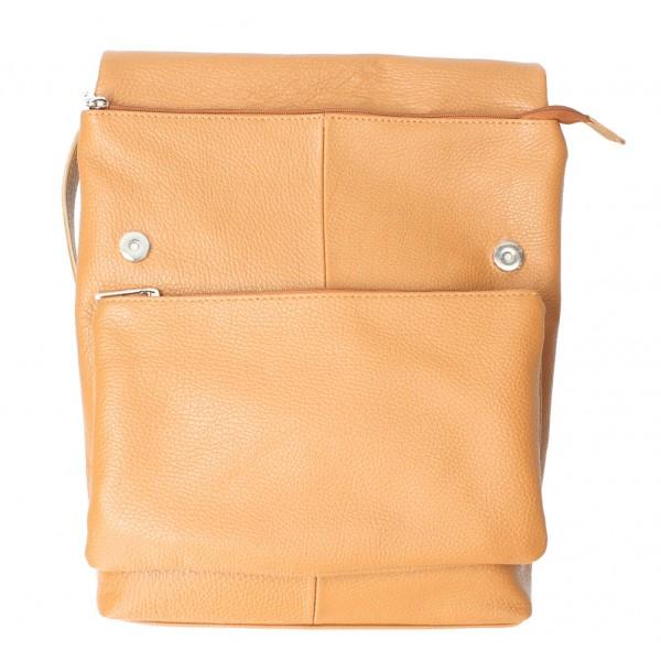 Kožená kabelka na rameno MI104 šedohnedá Šedohnedá