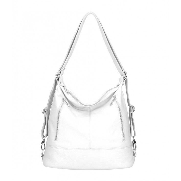 Genuine Leather Shoulderbag/Backpack MI258 white Made in Italy