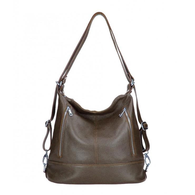 Genuine Leather Shoulderbag/Backpack MI258 dark brown Made in Italy