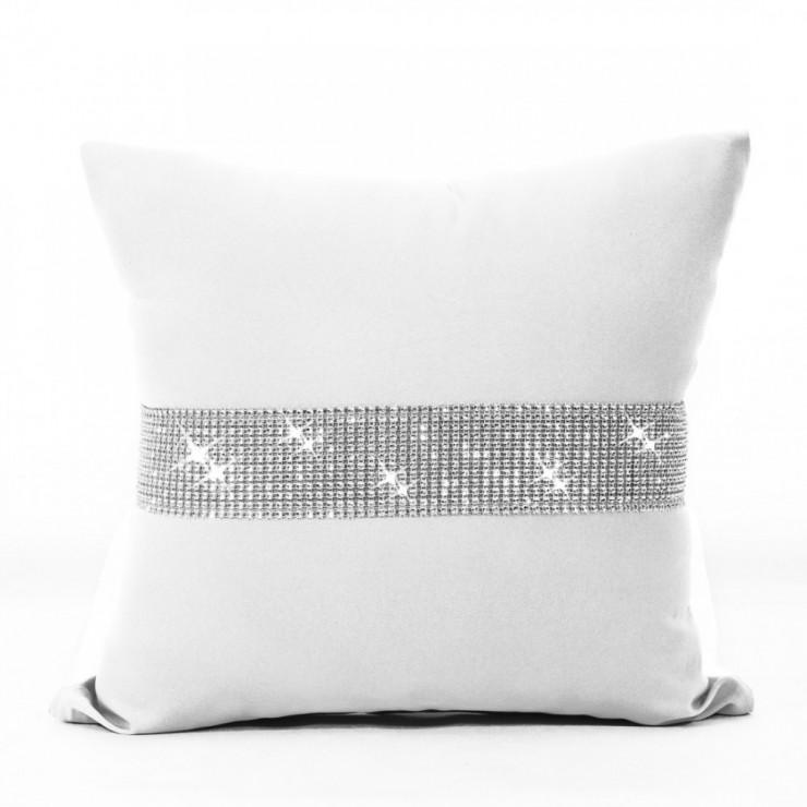Pillowcase with zircons 40x40 cm white
