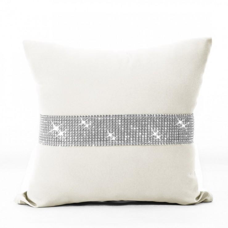 Pillowcase with zircons 40x40 cm cream