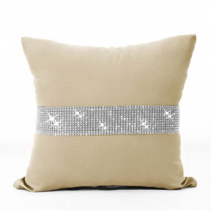 Pillowcase with zircons 40x40 cm beige