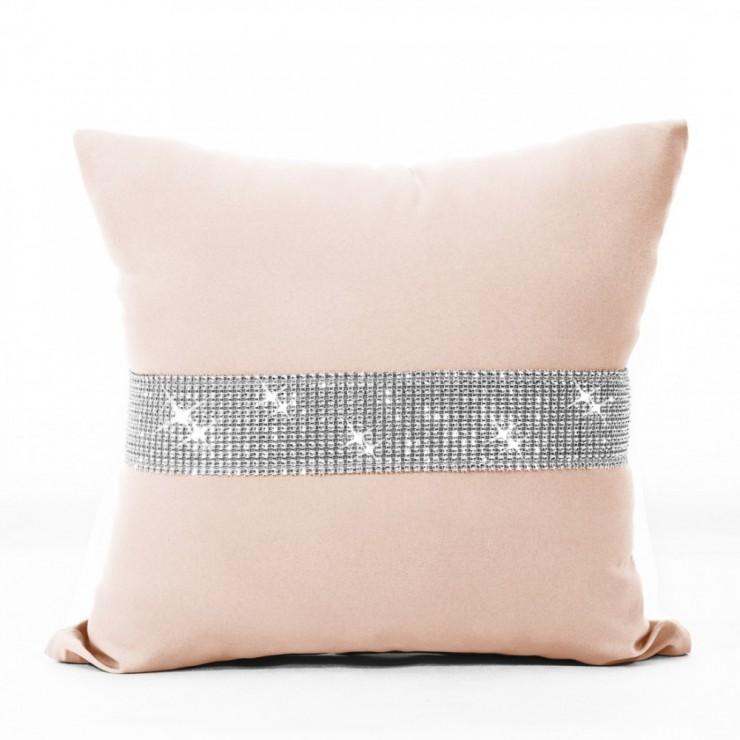 Pillowcase with zircons 40x40 cm salmon