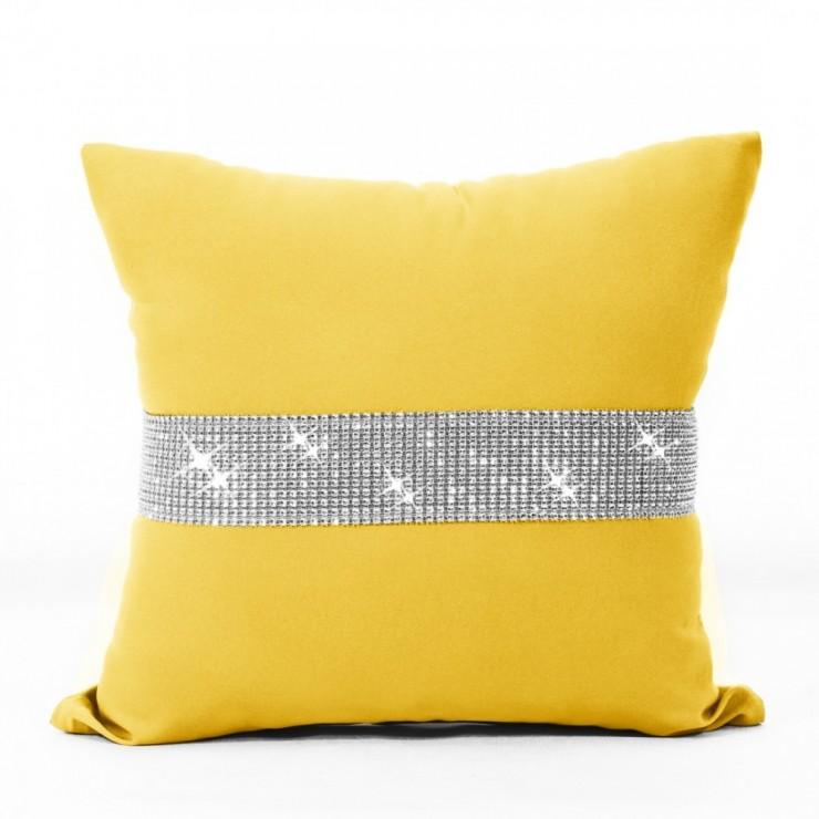 Povlak na polštář se zirkony 40x40 cm žlutá