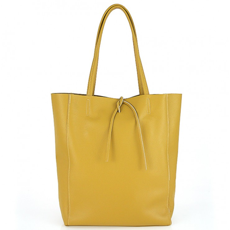 Genuine Leather Maxi Bag 396 mustard