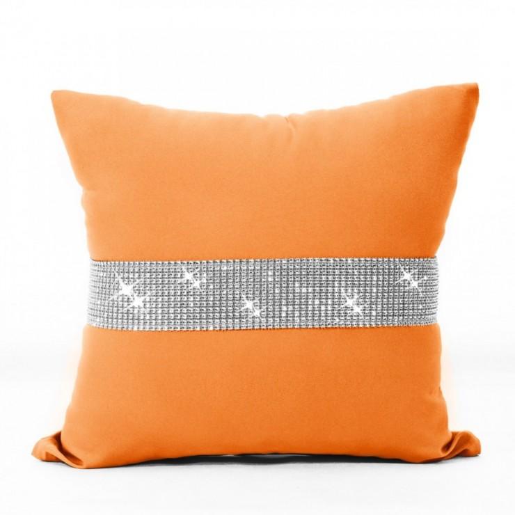Povlak na polštář se zirkony 40x40 cm oranžová