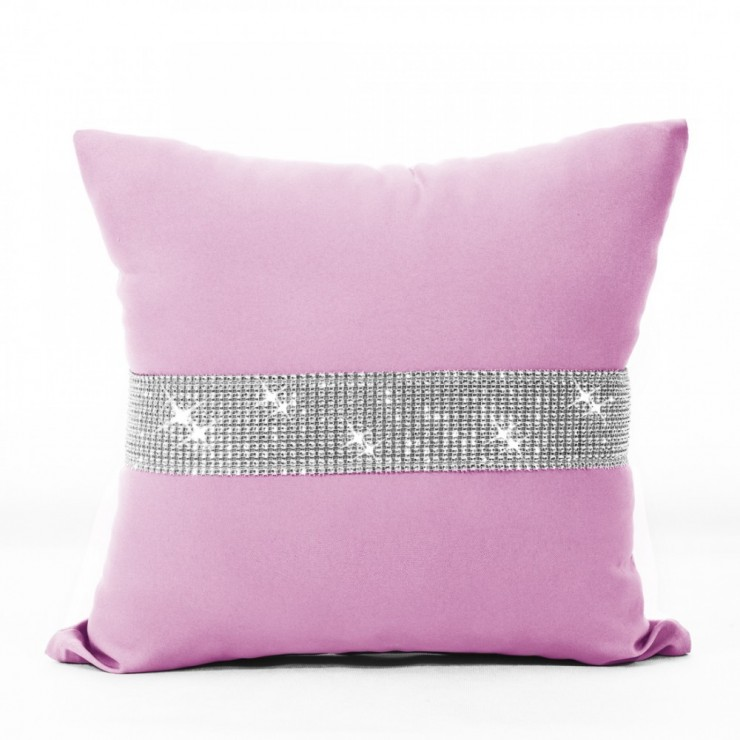 Povlak na polštář se zirkony 40x40 cm světle růžová
