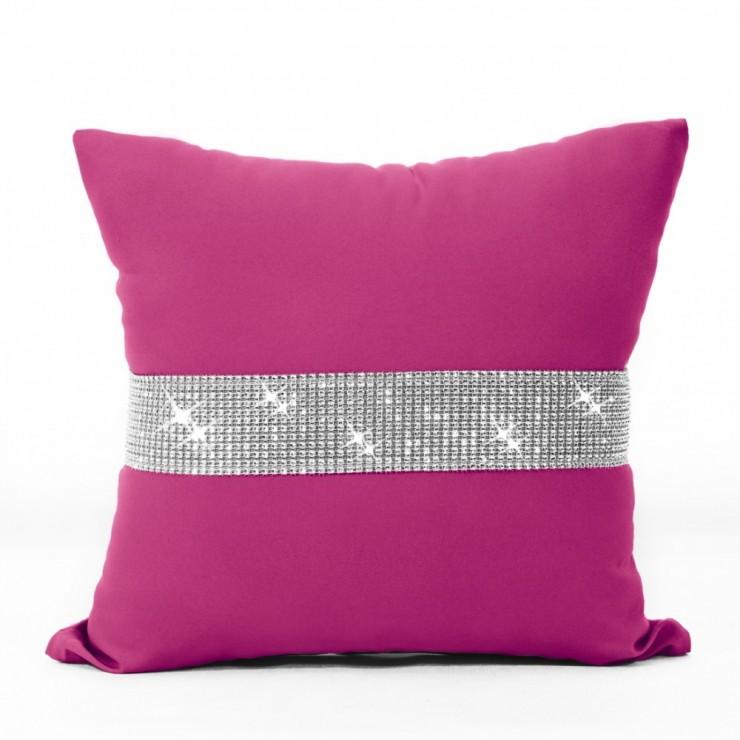 Pillowcase with zircons 40x40 cm dark pink