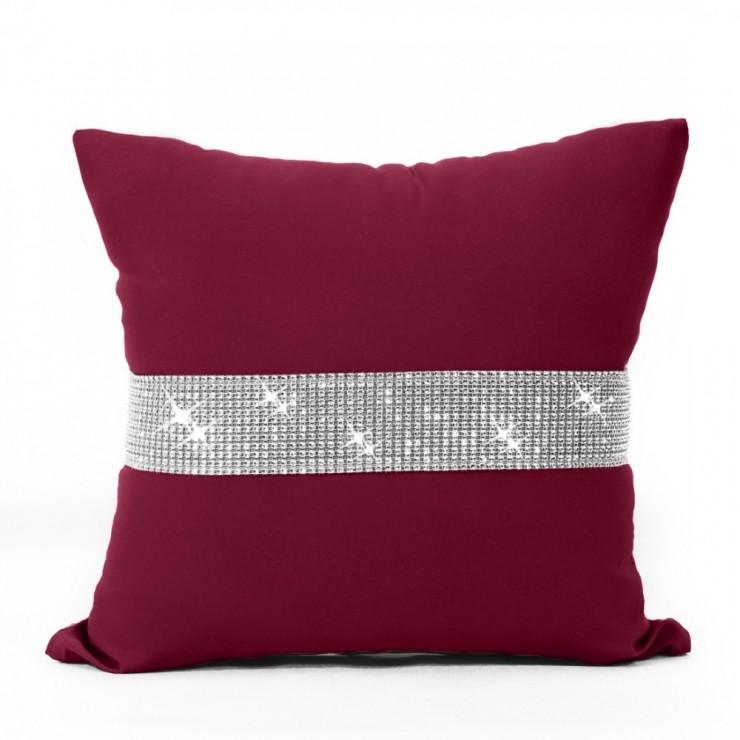 Pillowcase with zircons 40x40 cm bordeaux