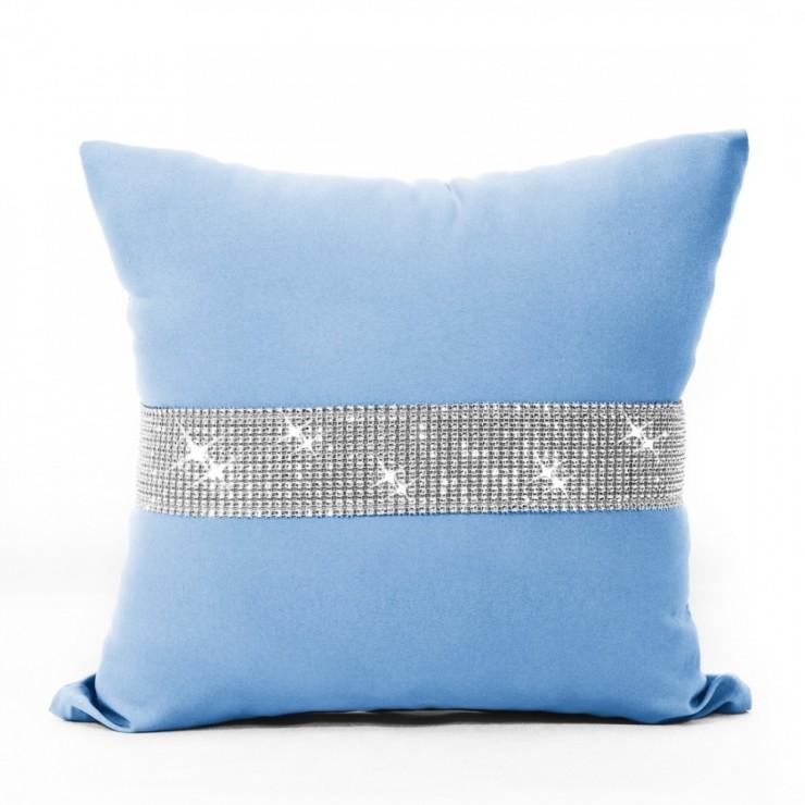 Pillowcase with zircons 40x40 cm azure blue