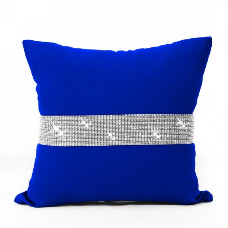 Povlak na polštář se zirkony 40x40 cm azurově modrá