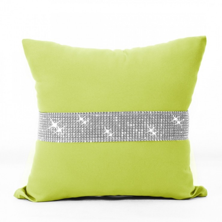 Pillowcase with zircons 40x40 cm lime