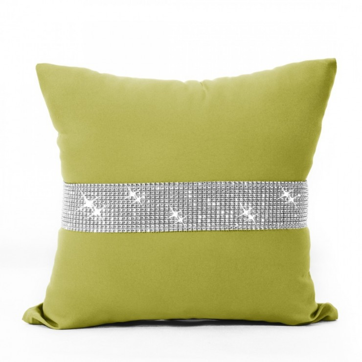 Pillowcase with zircons 40x40 cm olive green