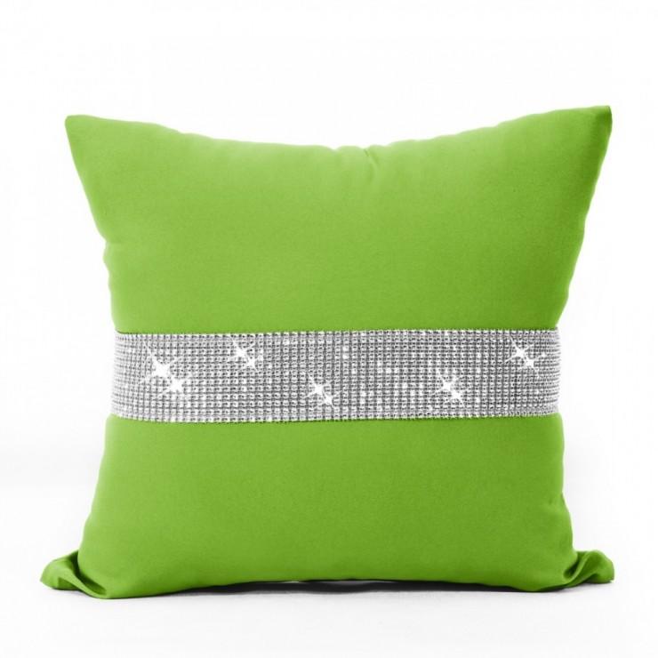 Pillowcase with zircons 40x40 cm green