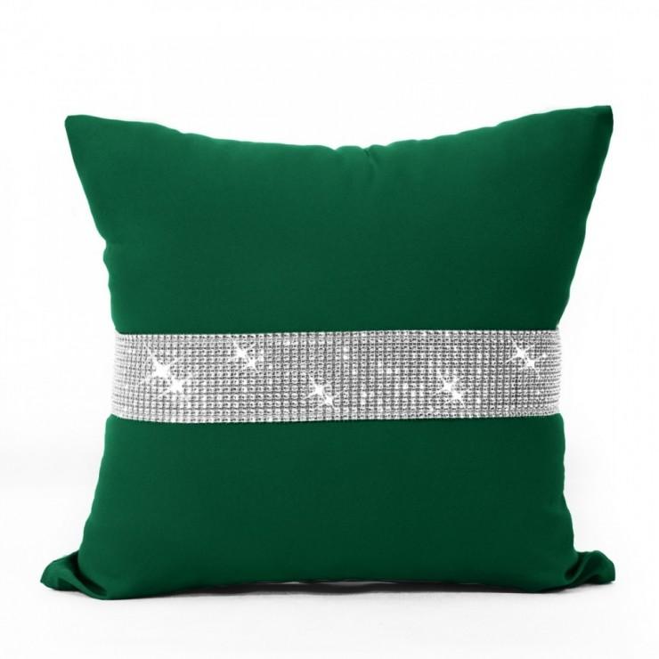 Pillowcase with zircons 40x40 cm dark green