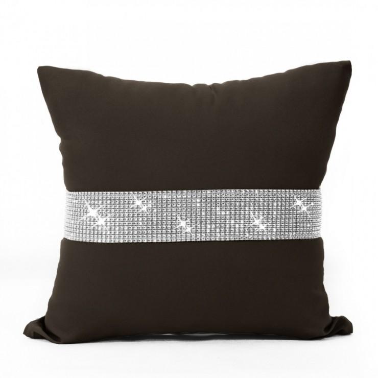 Pillowcase with zircons 40x40 cm dark brown