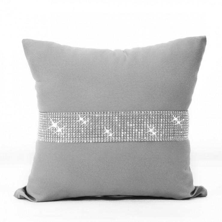 Pillowcase with zircons 40x40 cm light gray