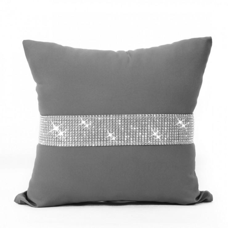 Pillowcase with zircons 40x40 cm gray