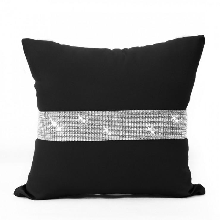 Pillowcase with zircons 40x40 cm black