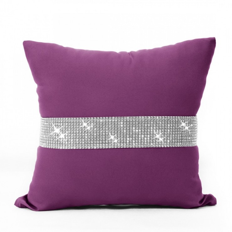 Pillowcase with zircons 40x40 cm fuxia