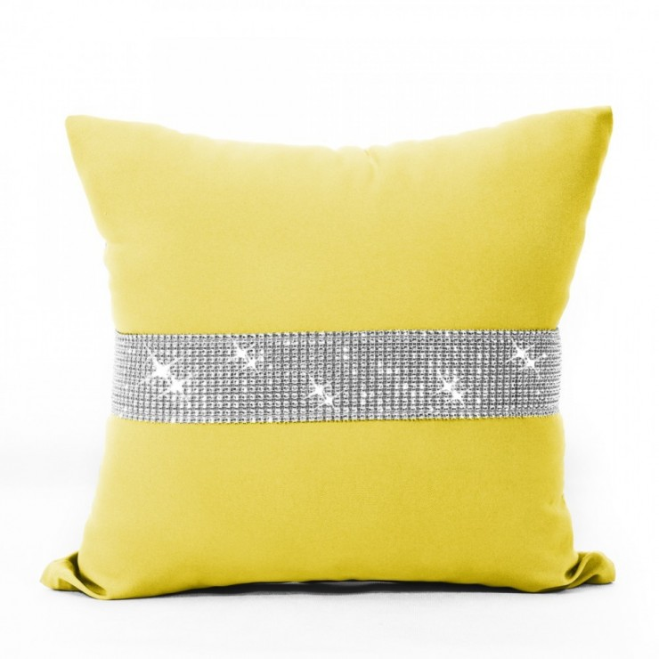 Pillowcase with zircons 40x40 cm yellow pastel