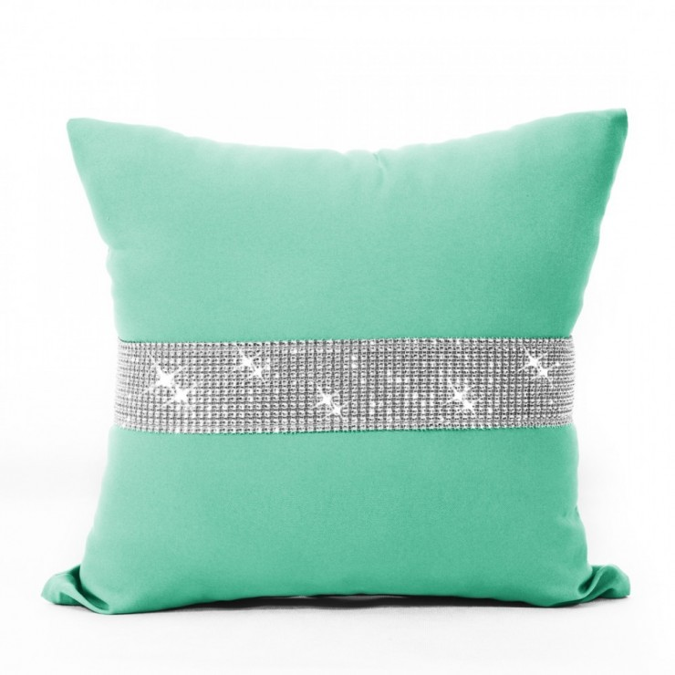 Pillowcase with zircons 40x40 cm mint