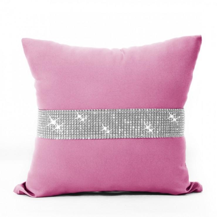 Pillowcase with zircons 40x40 cm pink