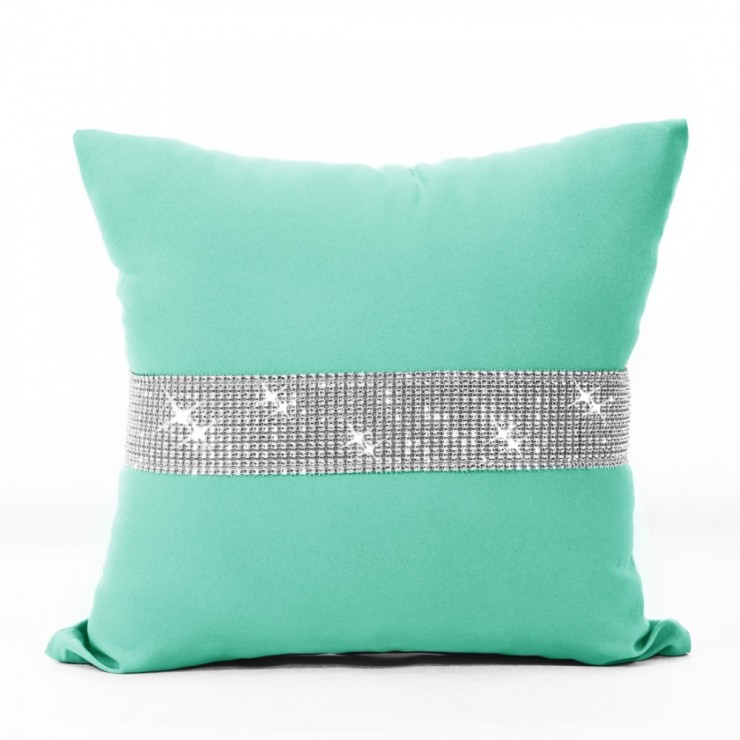 Pillowcase with zircons 40x40 cm pistachios