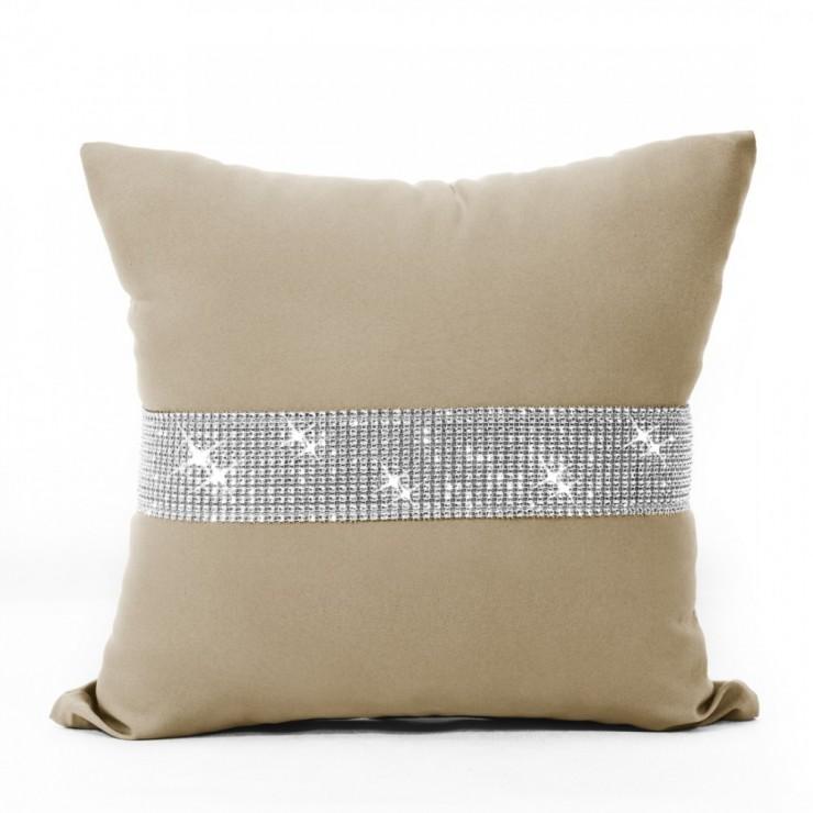 Pillowcase with zircons 40x40 cm mocca