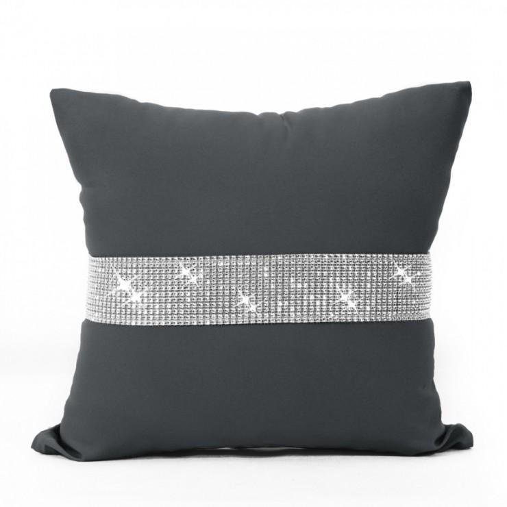 Pillowcase with zircons 40x40 cm graphite