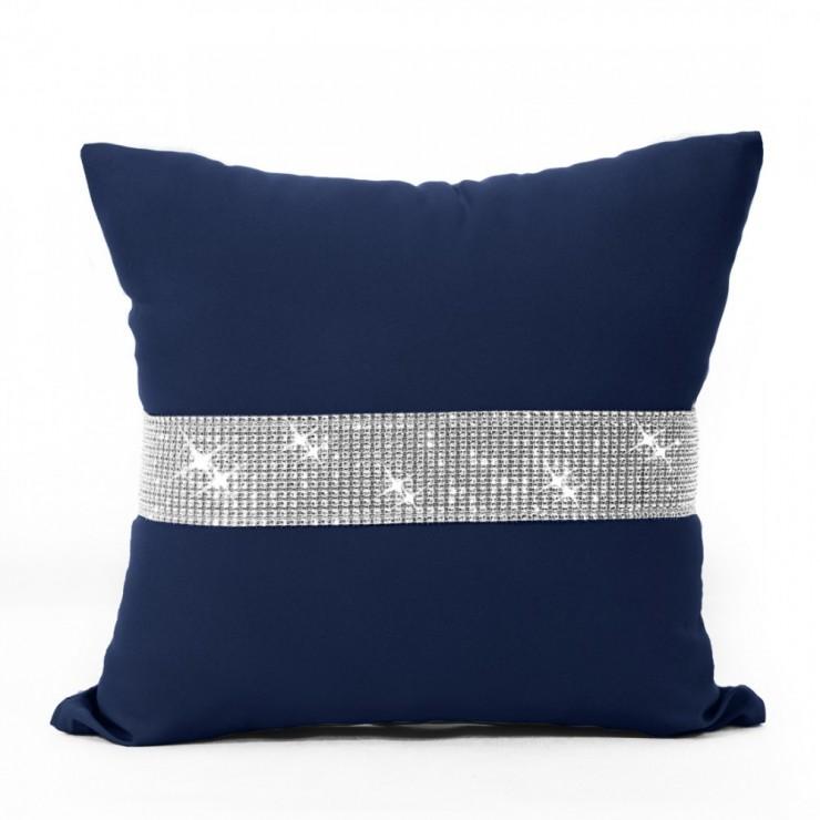 Pillowcase with zircons 40x40 cm dark blue