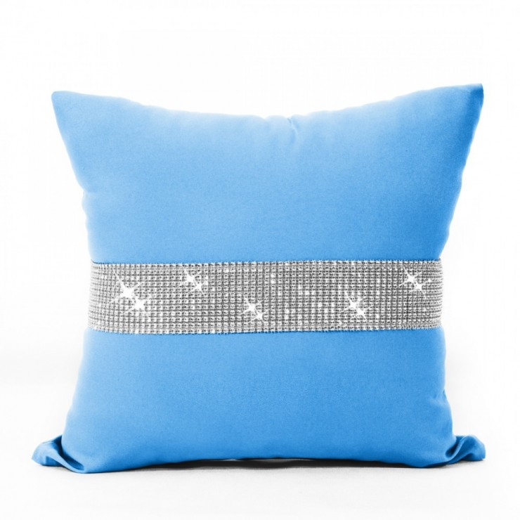 Pillowcase with zircons 40x40 cm turquoise blue