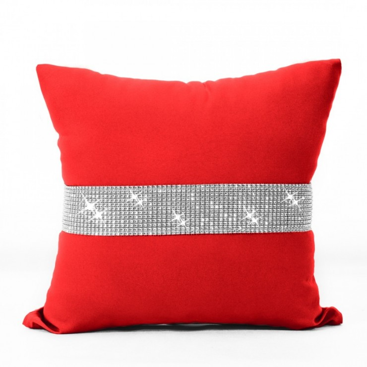 Pillowcase with zircons 40x40 cm red