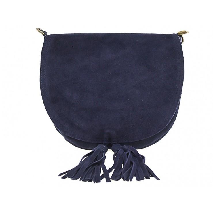 Kožená kabelka na rameno 703 modrá