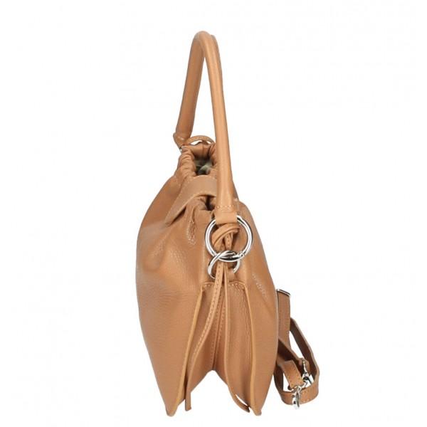 Kožená kabelka na rameno MI132 koňaková Made in Italy Koňak