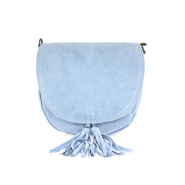 Genuine Leather Handbag 703 light blue