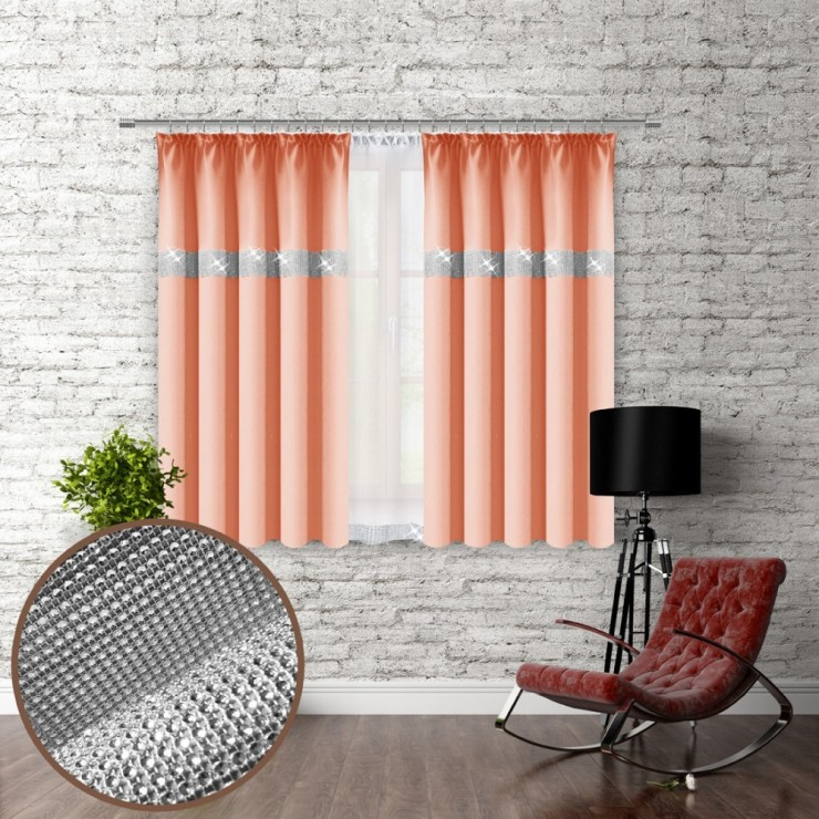 Curtain with plater tape and with zircons 140x160 cm salmon
