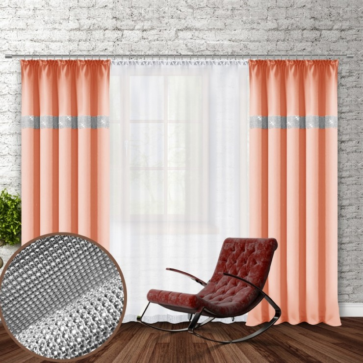 Curtain with plater tape and with zircons 140x250 cm salmon