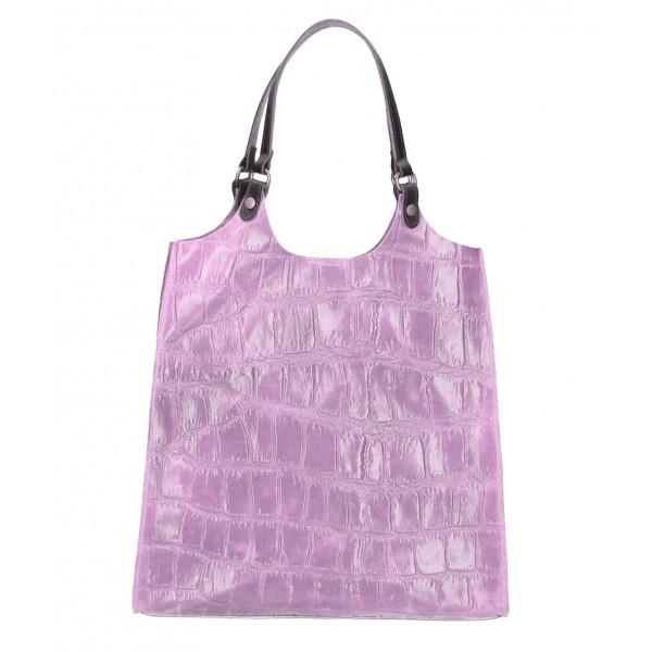 Kožená kabelka na rameno 144 fialová Fialová