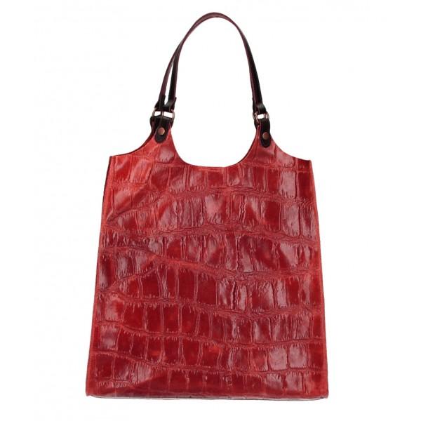 Kožená kabelka na rameno 144 červená Červená