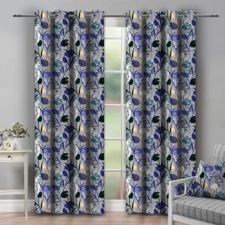 Curtain on rings 140x250 cm blue