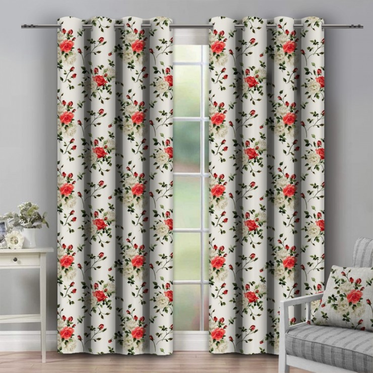 Curtain on rings 140x250 cm beige with flowers
