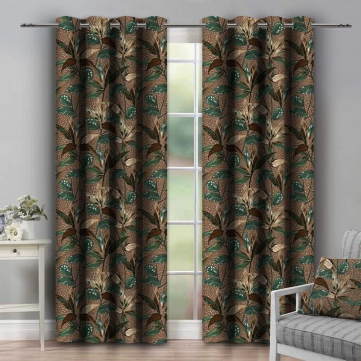 Curtain on rings 140x250 cm dark brown