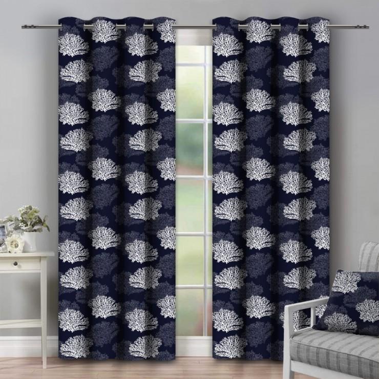 Curtain on rings 140x250 cm dark blue