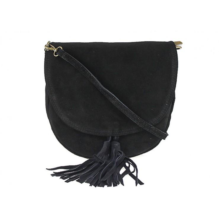 Kožená kabelka na rameno 703 čierna