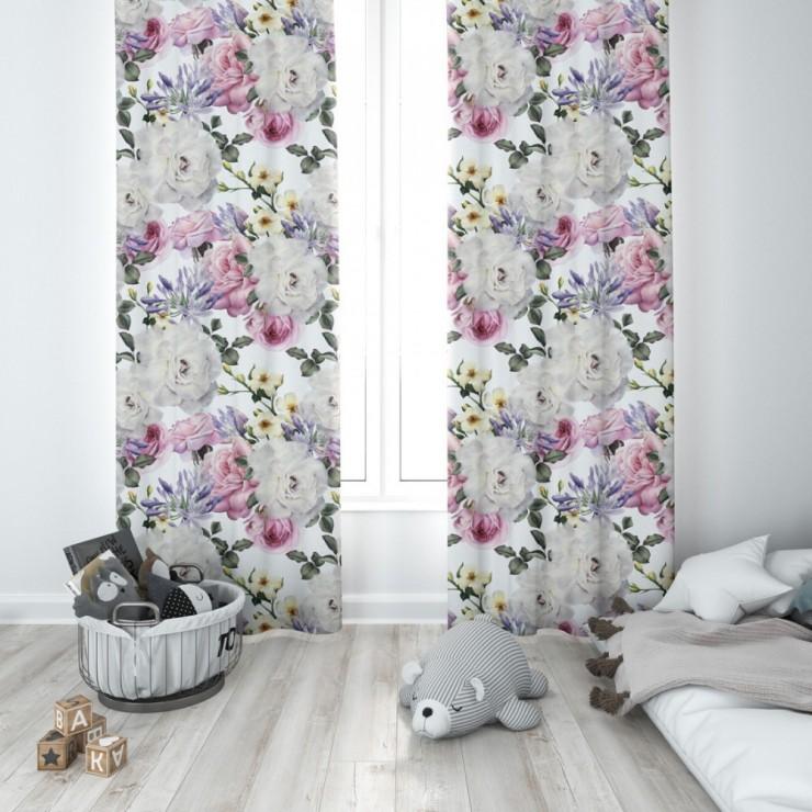 Hotový záves na krúžkoch 140x250 cm biely, kvety