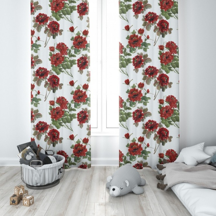 Hotový záves na krúžkoch 140x250 cm biely, červené kvetiny