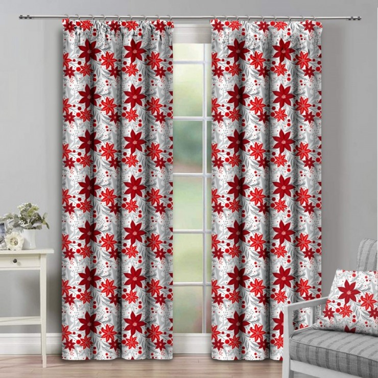 Curtain with plater tape 140x250 cm white with red flowers