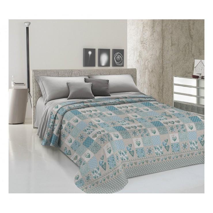 Prikrývka na posteľ Piquet Patchwork Primavera tyrkysová